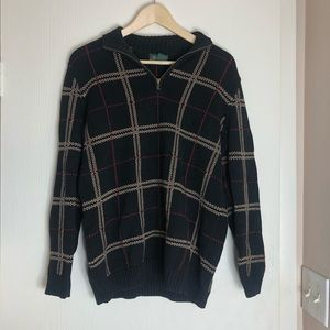 Lauren Ralph Lauren Black Plaid 1/4 Zip Sweater
